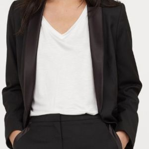 H&M Leather Sleeved Black Blazer